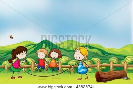 Illustration of the kids playing jumping rope at the bridge
