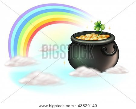 Illustration of the golden coins and the rainbow on a white background