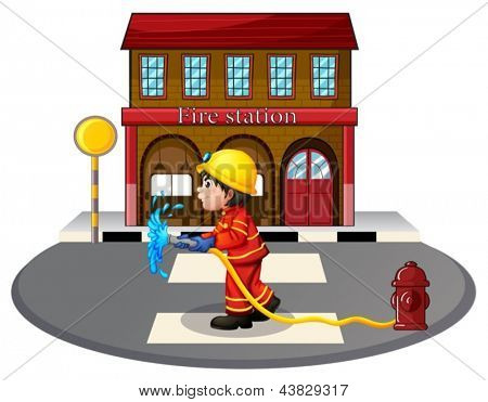Illustration of a fireman holding a fire hose near a hydrant on a white background