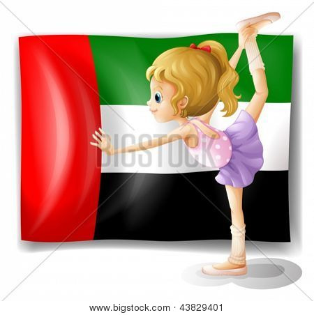 Illustration of a ballet dancer in front of the UAE flag on a white background