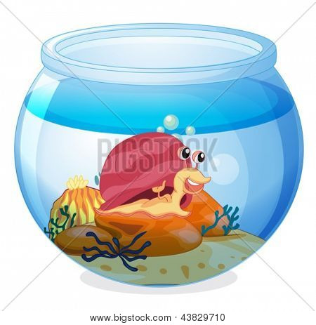 Illustration of a snail inside an aquarium on a white background