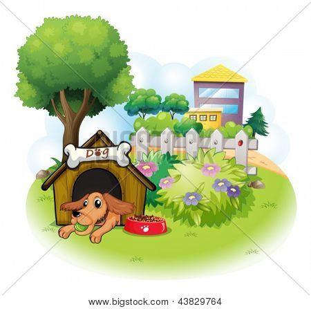 Ilustração de um cão dentro de uma casinha de cachorro em edifícios grandes sobre um fundo branco