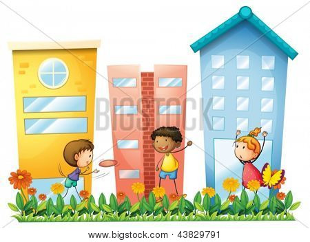Illustration of the kids playing in front of the high buildings on a white background