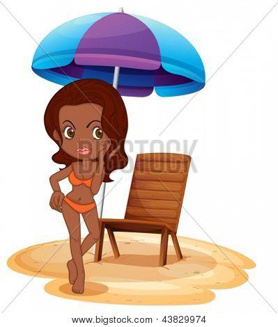 Ilustração de uma senhora tan vestindo um maiô laranja em fundo branco