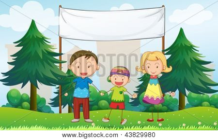 Illustration of a family at the park with an empty banner