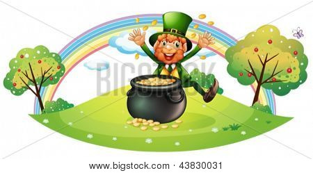 Illustration of a pot full of coins in front of an old man on a white background