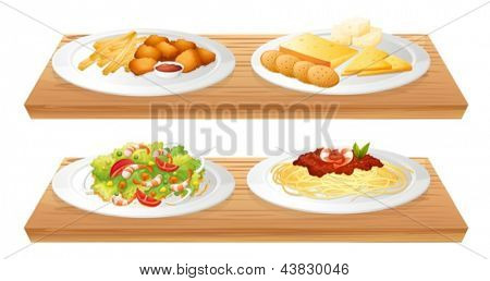 Illustration of the two wooden trays with four plates full of foods on a white background