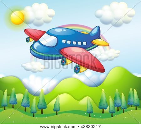 Illustration of a colorful airplane above the hills