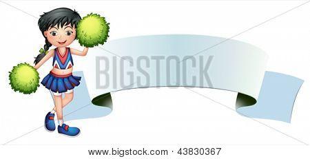 Ilustração de uma garota ao lado de uma sinalização vazia em um fundo branco
