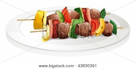 Illustration of a plate with barbeque on a white background
