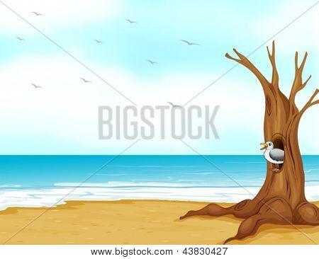 Ilustración de un ave dentro del hueco del árbol a la orilla del mar