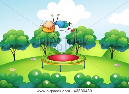 Illustration of a boy and the bouncing platform