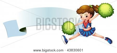 Illustration of a girl with green pompoms near an empty signage on a white background