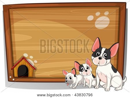 Illustration of the three dogs in front of a wooden board on a white background
