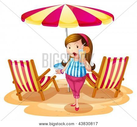 Illustration of a fat girl holding a juice near the beach umbrella with chairs on a white background