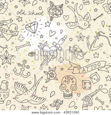 Tattoo concept seamless pattern. Tattoo elements: skull, knife, bird, heart, anchor and others in cartoon style in vector. Can be used for wallpapers, fills, web page background, surface textures