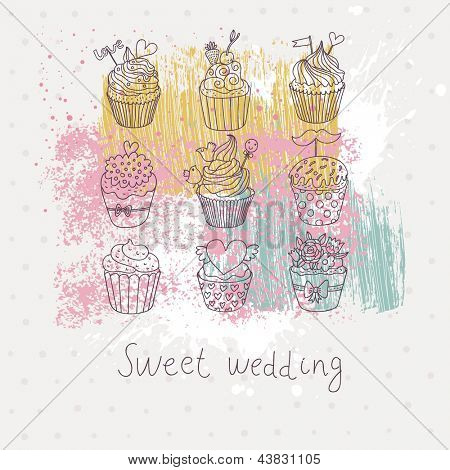 Colorful tasty background in vector. Sweet cupcakes on stylish bright abstract wallpaper. Ideal for wedding invitation or tasty card.