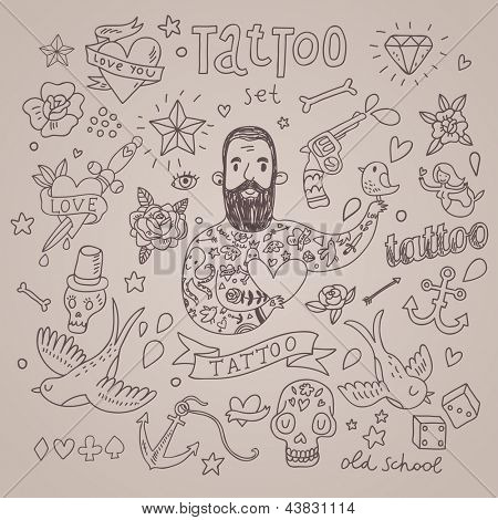 Cartoon tattoo vector set. Cute vintage collection of tattoo � heart, pigeon, anchor, diamond, flower, dice, pistol and others