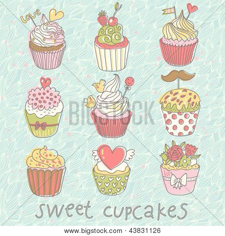 Sweet cupcakes. Colorful tasty vector set. 9 delicious cakes for modern yummy romantic designs or wedding invitations.