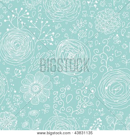 Stylish floral seamless pattern in blue colors. Ranunculus flowers. Seamless pattern can be used for wallpaper, pattern fills, web backgrounds, surface textures. Gorgeous seamless floral background