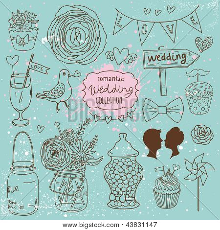 Romantic wedding collection. Cute wedding vector set. Couple of lovers, bow-tie, candies, bouquet, dove, cakes, cocktail and other romantic elements for stylish designs and wedding invitations