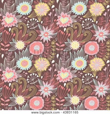 Bright abstract floral seamless pattern. Crazy bright background in vector.  Seamless pattern can be used for wallpapers, pattern fills, web page background, surface textures.