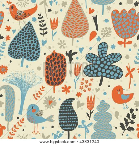 Colorful abstract seamless pattern with birds. Vector spring background in creative style. Seamless pattern can be used for wallpapers, pattern fills, web page backgrounds, surface textures.