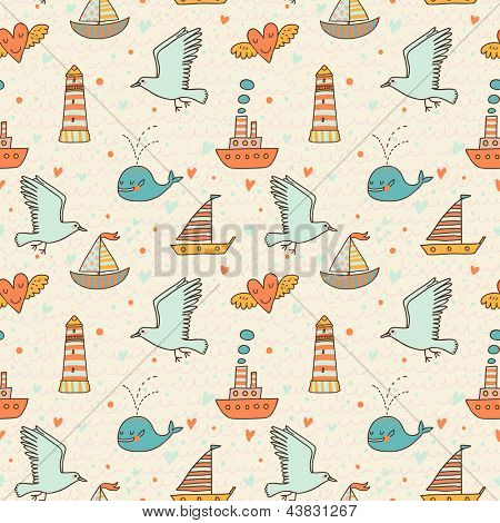Marine seamless pattern with seagull, boat, whale and lighthouse. Warm colored romantic background. Seamless pattern can be used for wallpapers, pattern fills, web page backgrounds, surface textures.
