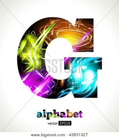 Vector Customizable Light Effect Alphabet. Design Abstract Letter G.