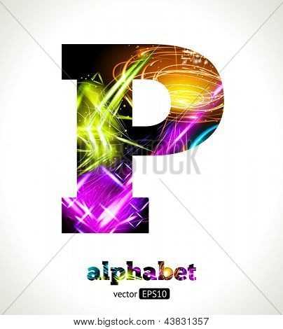 Vector Customizable Light Effect Alphabet. Design Abstract Letter P.