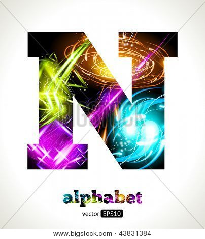 Vector Customizable Light Effect Alphabet. Design Abstract Letter N.