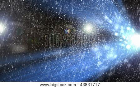 Image of light splash at night when raining