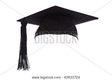 Mortar Board or Graduation Cap isolated on a white background.