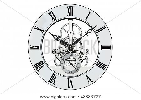 Skeleton clock with roman numerals isolated on a white background. Clipping path provided for the outer face.