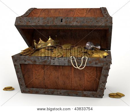 A photo of a pirates chest full of loot on a white background.