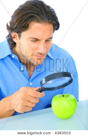 Curious Adult Examine Apple
