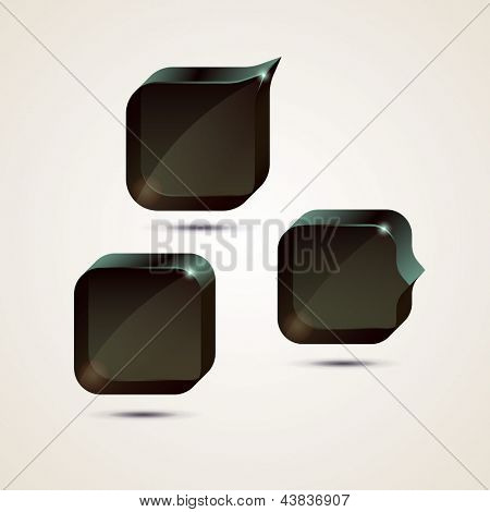Black glossy speech bubbles, eps10 vector
