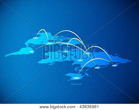 3D World Map with Network Connection Lines | EPS10 Vector Design Background