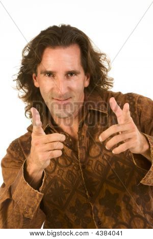 Optimistic Friendly Gesturing Middle Aged Man