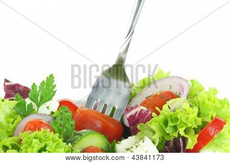 Close up of fresh mixed vegetables salad