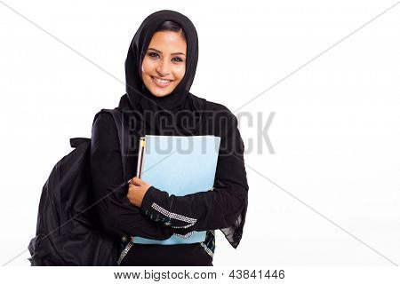 beautiful female middle eastern college student isolated on white