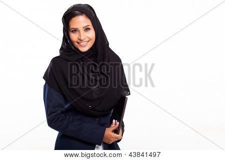 cute middle eastern businesswoman with tablet computer