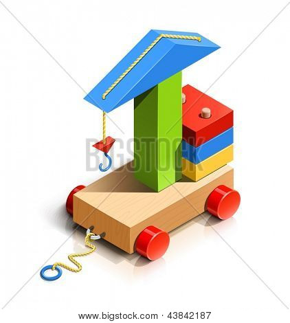 lifting crane, wooden toy vector illustration isolated on white background EPS10. Transparent objects and opacity masks used for shadows and lights drawing. Vector Illustration.