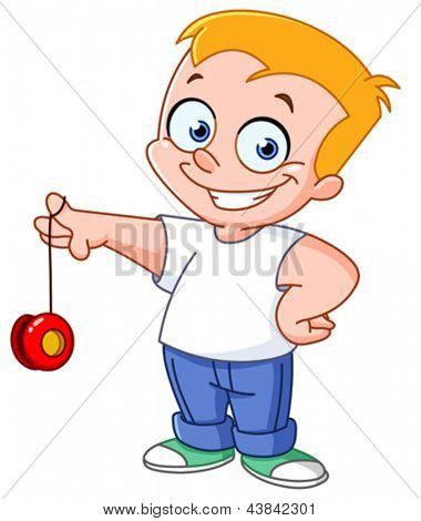 Kid playing with a yo-yo