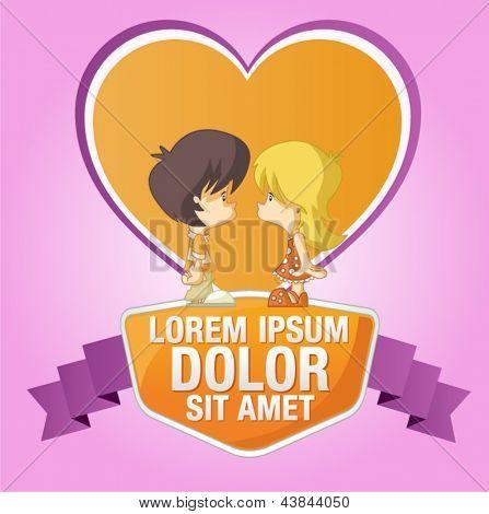 Modelo-de-rosa e laranja para o folheto de publicidade com um casal de filhos de bonito dos desenhos animados no amor