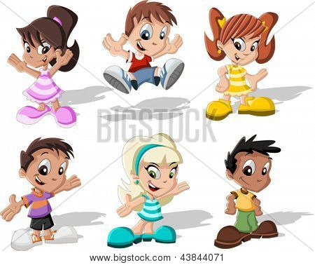 Group of six cartoon children