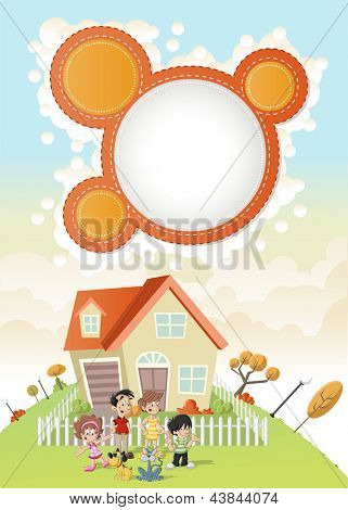 Colorful template for advertising brochure with cute happy cartoon family in front of a house in green park.