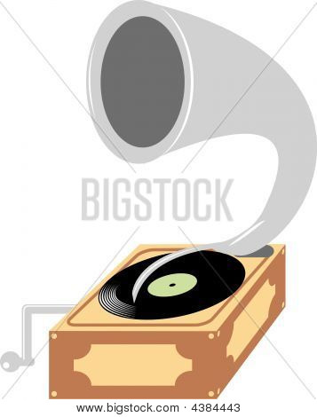 Vector Illustration Of Old Gramophone