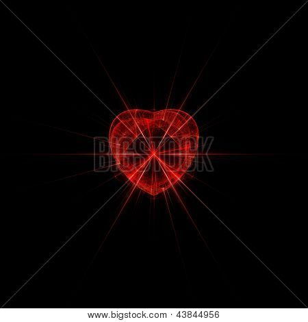 Red glass heart with rays.