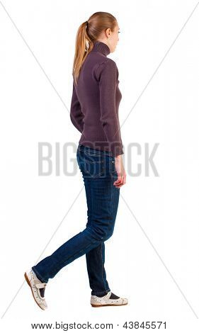 back view of walking  woman. girl in white sandals are from left to right. beautiful blonde girl in motion.  backside view of person.  Rear view people collection. Isolated over white background.